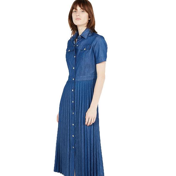 LIUJO فستان دنيم طويل بطيات
