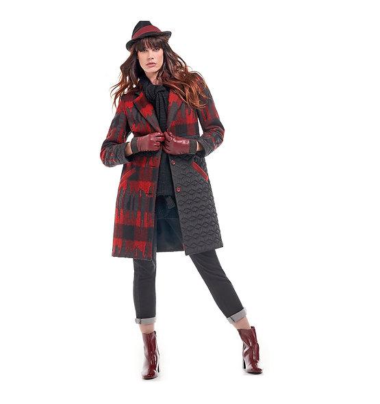Manteau rouge/gris Meri Esca
