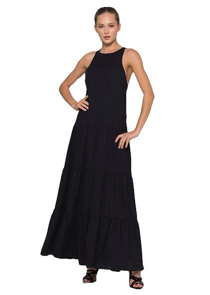 فستان طويل أسود بلا أكمام KOCCA