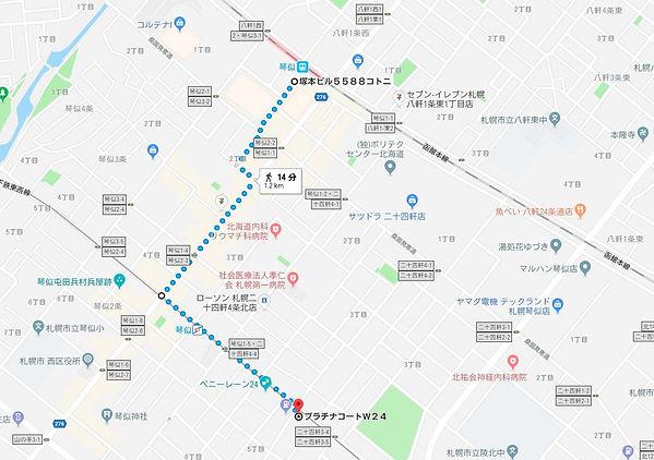 JR琴似駅からの地図