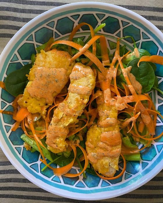 Buffalo Almond Flour Chicken Tender Salad
