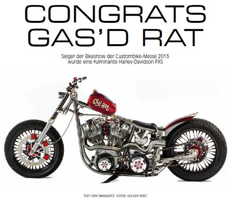 Gas'd Rat in Custombike magazineCustom Harley Davidson Shovelhead 'Gas'd Rat'