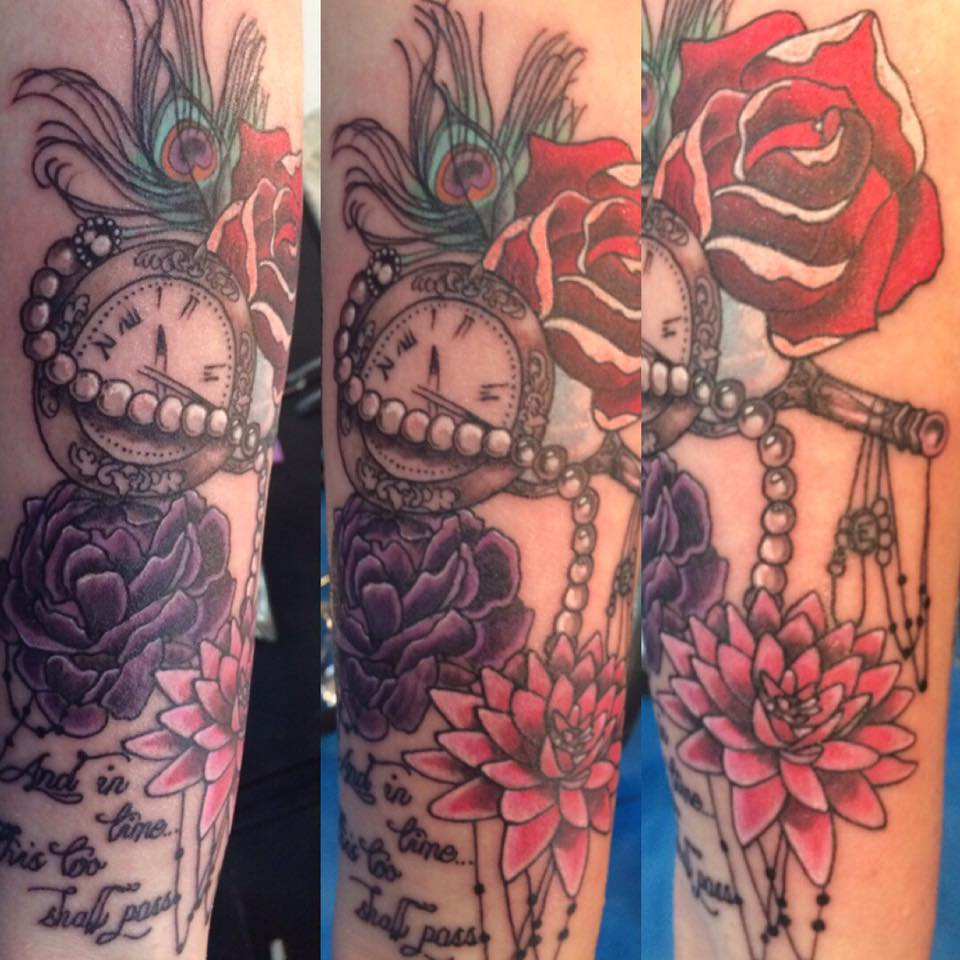 Chad clock and flower tattoos