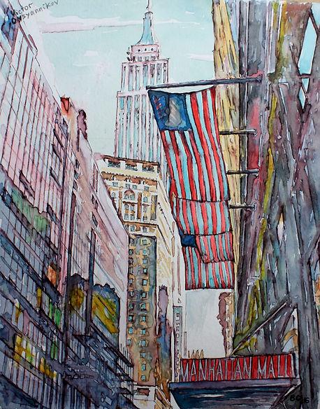Manhattan Watercolor. Манхэттен. Акварель