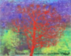 Landscape with a tree of red color. Пейзаж с красным деревом.