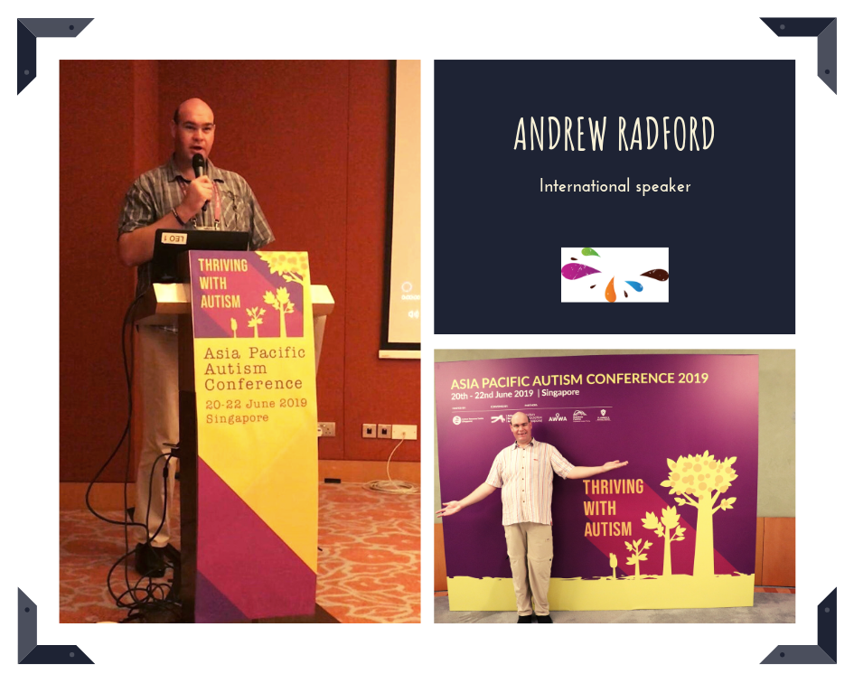 Photo collage, photo on left of Andrew standing and speaking into microphone; image top right white writing on black background that says 'Andrew Radford International Speaker; bottom right photo of Andrew standing in front of conference signboard with arms open