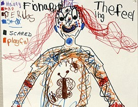 Drawing by a child of a person with long red hair, an example of interactive drawing therapy