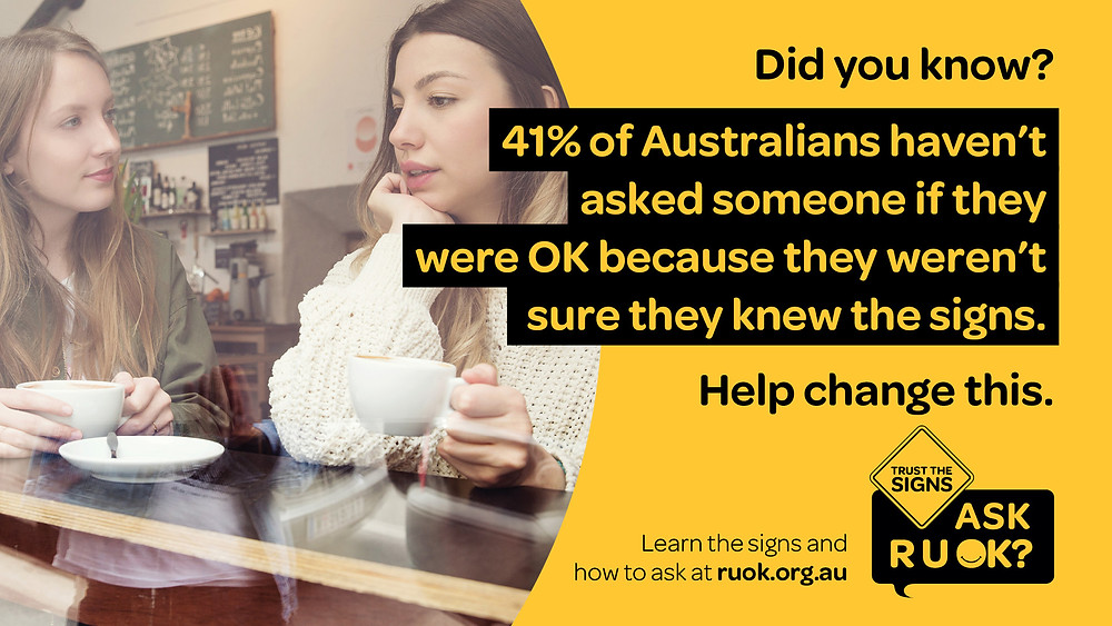 R U OK? photo of two women having a cuppa and talking with statistics - 41% of Australians haven't asked someone if they were OK because they weren't sure they knew the signs.