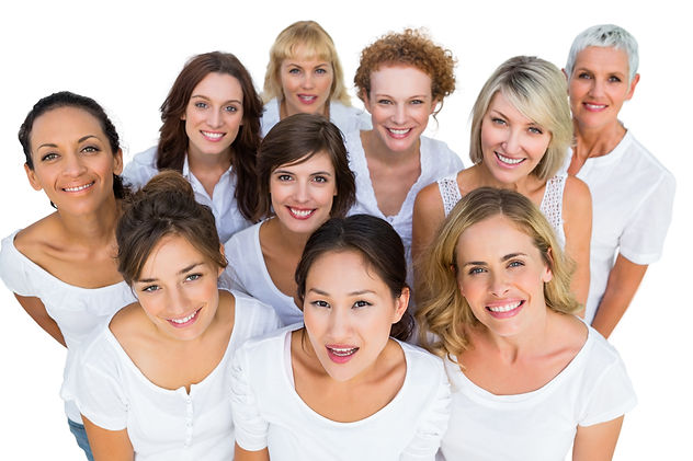 Cheerful female models smiling at camera