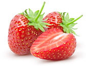 Isolated strawberries. Two whole strawbe
