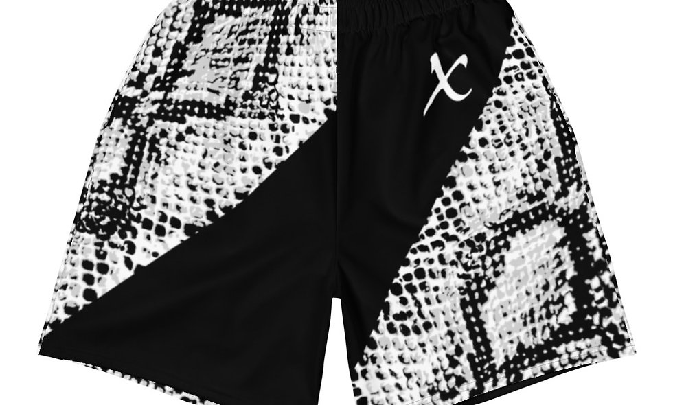 White & Black Snake Skin Athletic Long Shorts