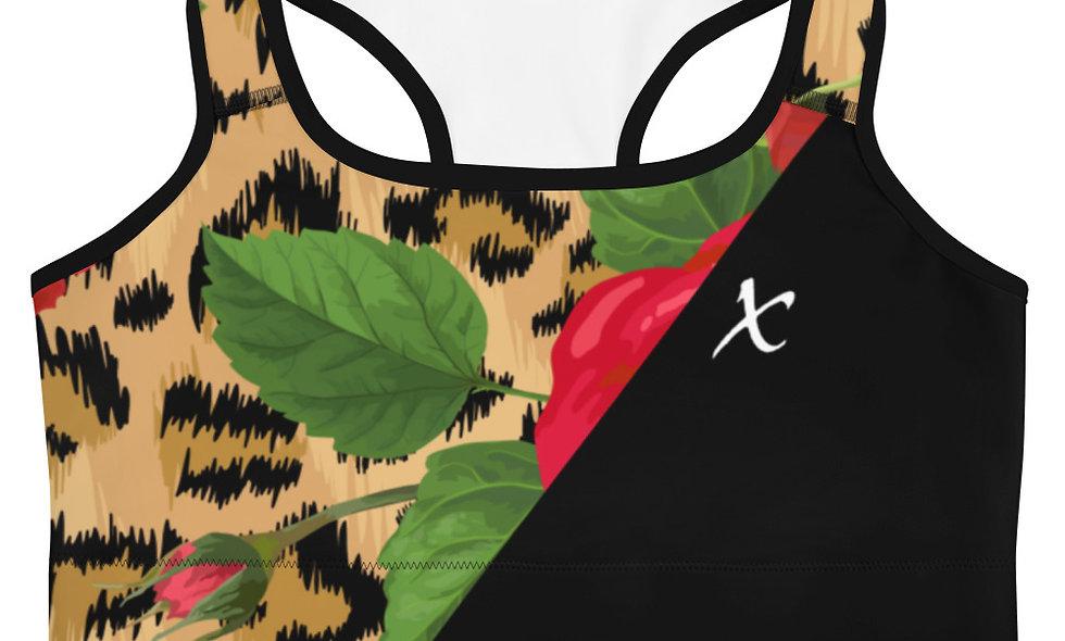 Floral Leopard Print Sports bra
