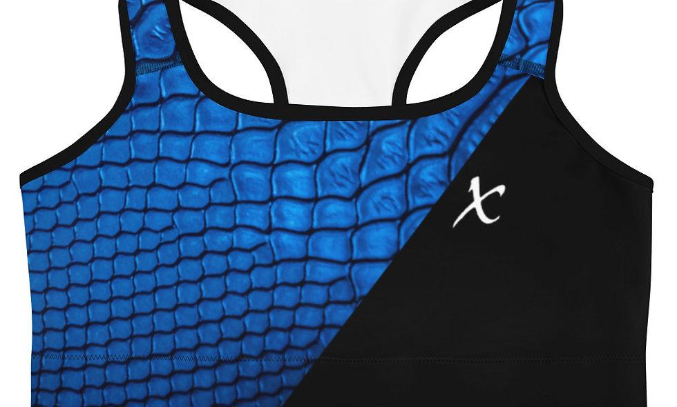 Blue Snake Skin Sports bra