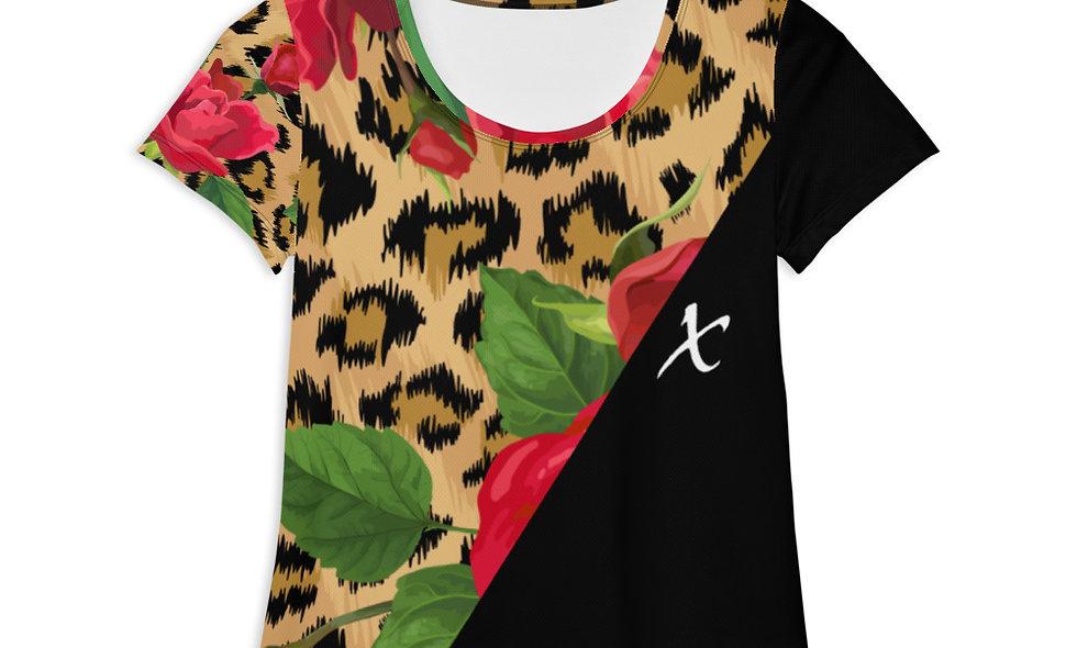 Floral Leopard Print Athletic T-shirt