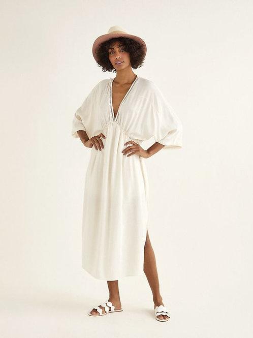 Vestido midi linho entremeio (off white)