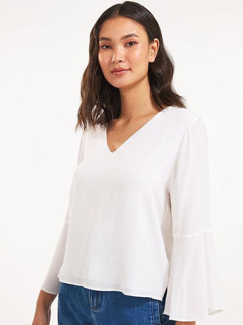 Blusa decote V e manga sino (off white)