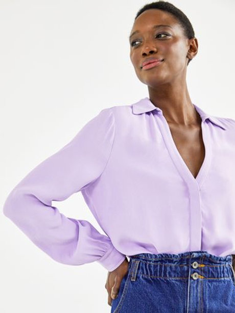 Camisa Crepe decote V (lilás)