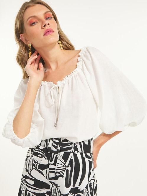 Blusa cigana com amarração (off white)
