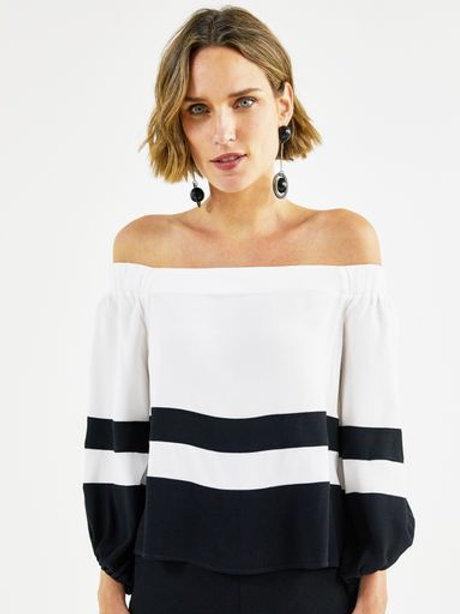 Blusa ombro a ombro (P&B)