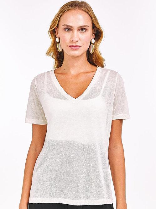 T-Shirt decote V (off white)