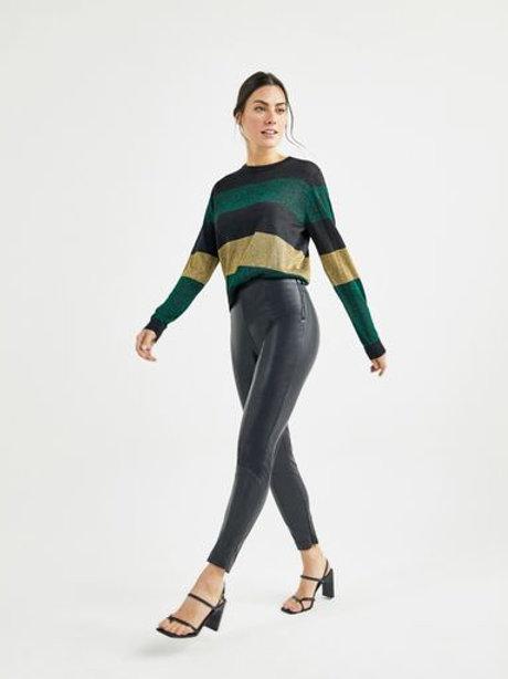 Calça Skinny resinada recortes