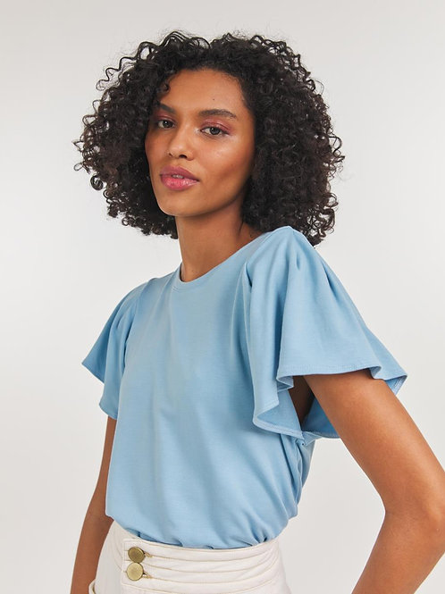 Blusa malha manga babado (azul)