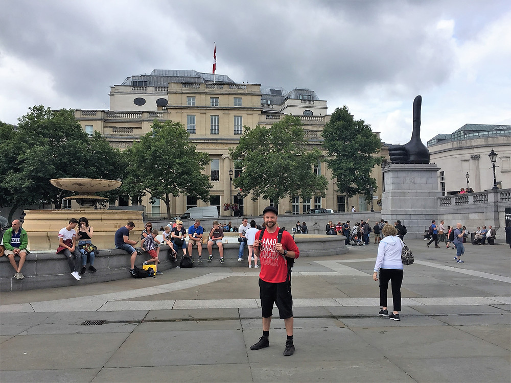 Standing at Trafalgar Square, Canadian Embassy in the background.