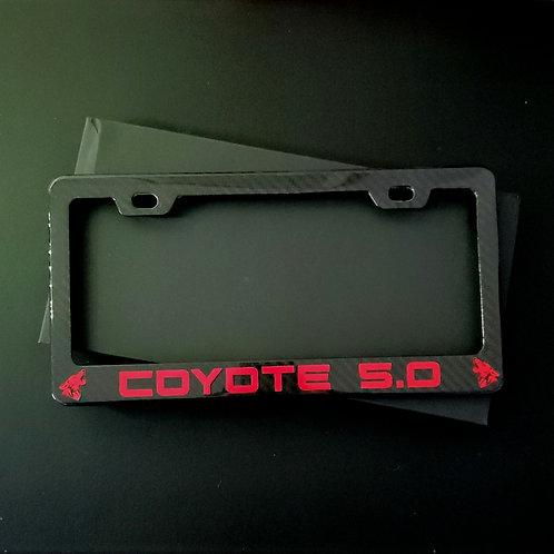 Carbon Fiber License Plate Frame - Coyote