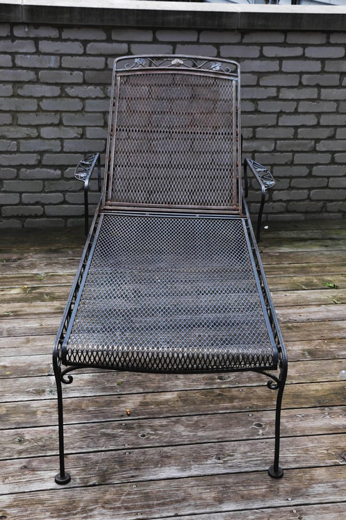 Wrought Iron Chaise Lounge With Wheels Black Bar Stools Set