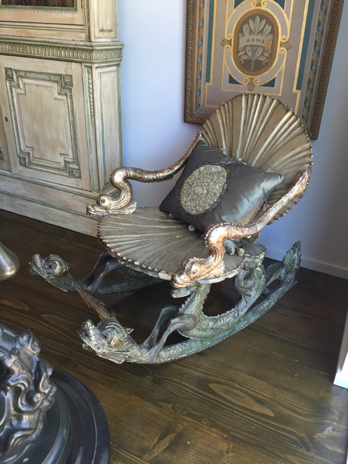 Italian Venetian Grotto Rocking Chair Overlaid With Silver Gilt And  Polychromed Carved Double Seashell Back With Stylized Arm Supports Resting  On ...