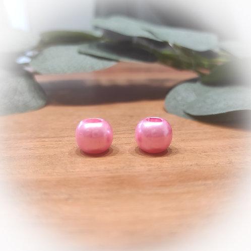 Großlochperle 12 x 10 mm, rosa metallic