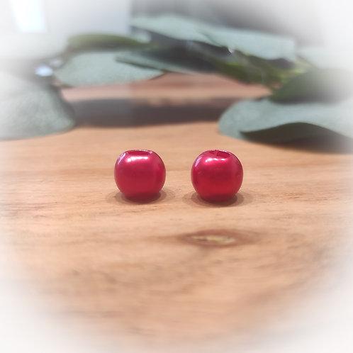 Großlochperle 12 x 10 mm, rot metallic