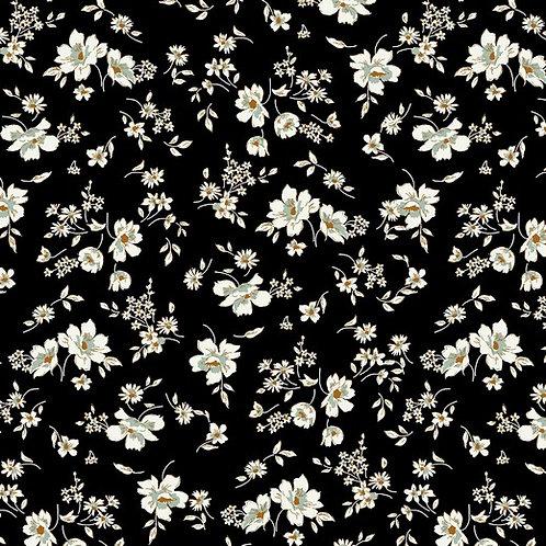 Tencel Modaljersey Black Flowers 1m Reststück