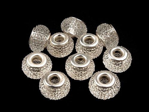 Großlochperle 9 x 14 mm crystal