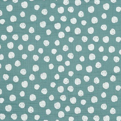 BIO Musselin Big dots oldgreen