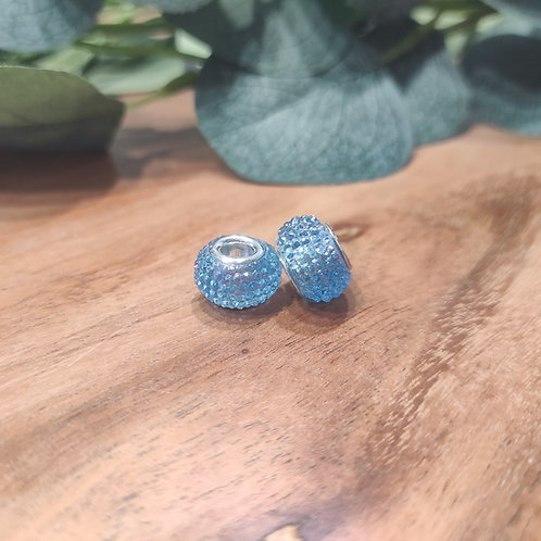 Großlochperle 9 x 14 mm hellblau