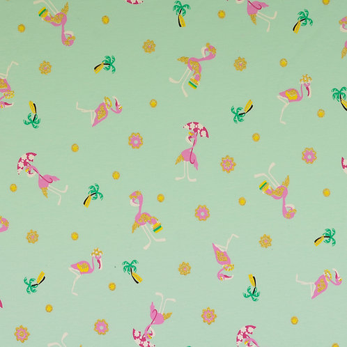 Jersey Glitzer flamingo mint
