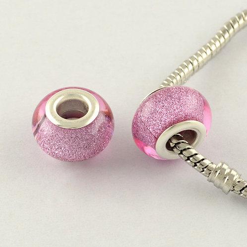 Großlochperlen 14 x 10 mm rosa glitzernd