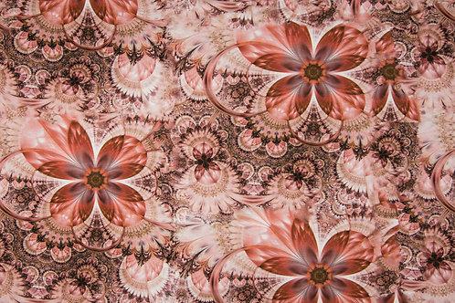 Viskosejersey Optical flowers oldrose