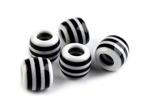 Großlochperle 10 x 12 mm gestreift schwarz-weiß