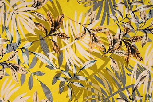 Viskosejersey big palms yellow