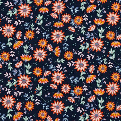 Jersey Glitter Flowers navy