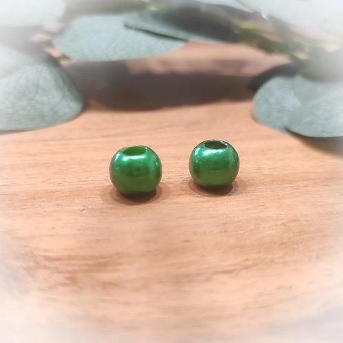 Großlochperle 12 x 10 mm, waldgrün metallic