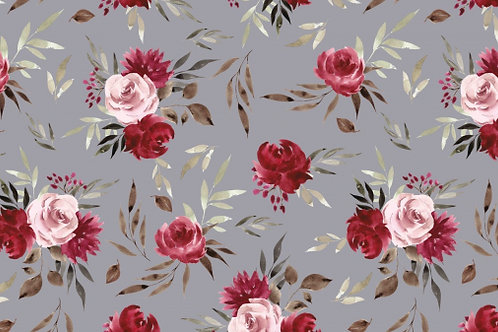 French Terry Aquarell Roses grey