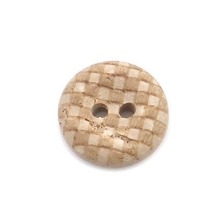 Kokosknopf mit Gittermuster 13 mm