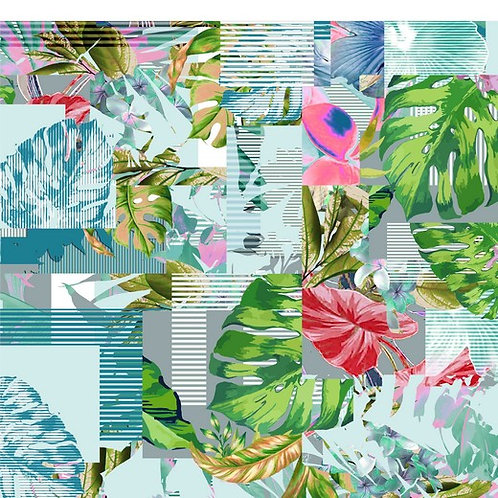 Viskosejersey grafic leaves mintgreen
