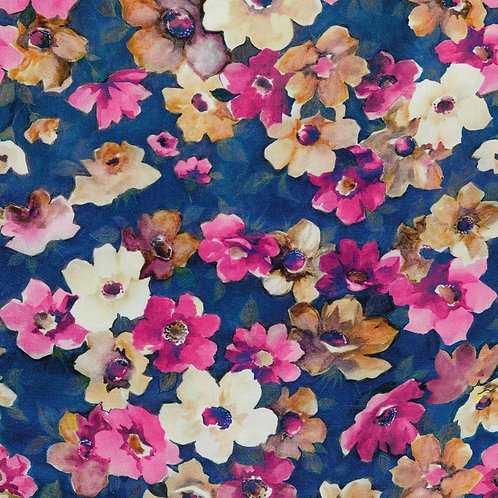 Viskose flowers blue