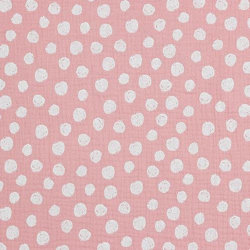 BIO Musselin Big dots rose