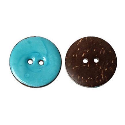 Kokosknopf hellblau-türkis 25 mm