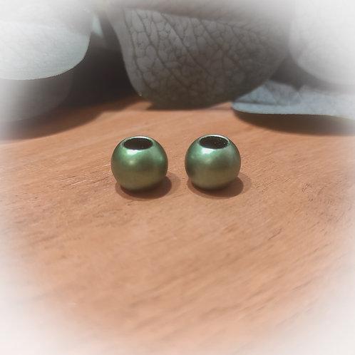 Großlochperle 10 x 12 mm grün matt metallic